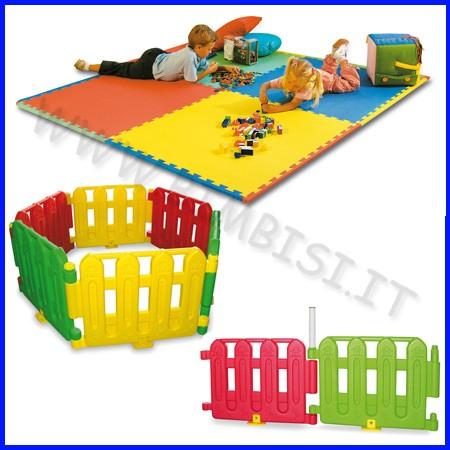 Area bimbi:9mq 2 set recinto multicolore + cancello + 10 mattonelle eva 100x100x1