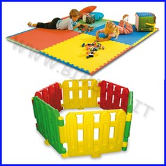 Area bimbi:4mq 2 set recinto multicolore + 4 mattonelle in eva 100x100x1 cm