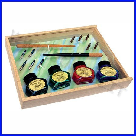 Set calligrafia - scatola legno cm. 29x20x5