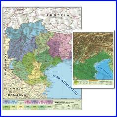 Carta geografica regionale triveneto 100x140 bifacciale da parete