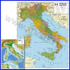 Carta geografica cm.100x140 - italia bifacciali da parete