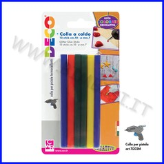 Stick colla caldo colorati 7mm-10cm 12pz x pistola grande classica