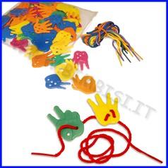 Manine plastica per contare + corde - set 72 pz.
