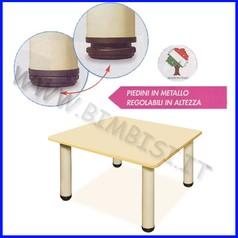 Tavolo quadrato adulti gambe metallo dim.cm 65x65x76h linea simply