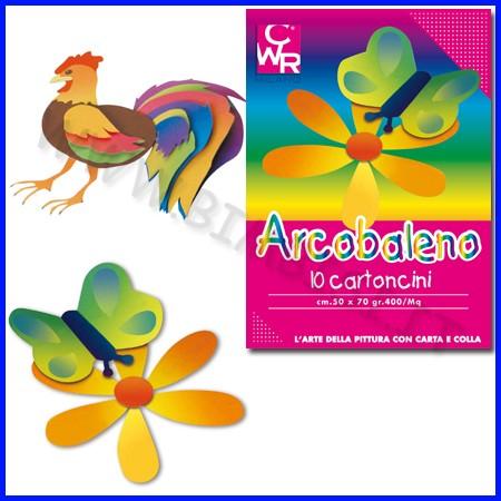 Carta arcobaleno 10 cartoncini cm.50x70