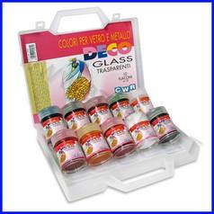 Colori vetro/metallo deco glass 10 flaco ni ml.35 colori assortiti in valigetta