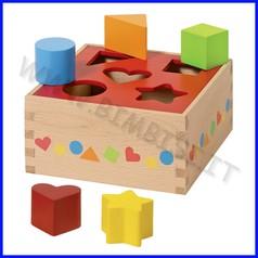 Cubo delle forme in legno cm.16x16x7,6 (5 pz.)