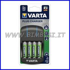 Caricabatterie + 4 pile stilo eco ricaricabili