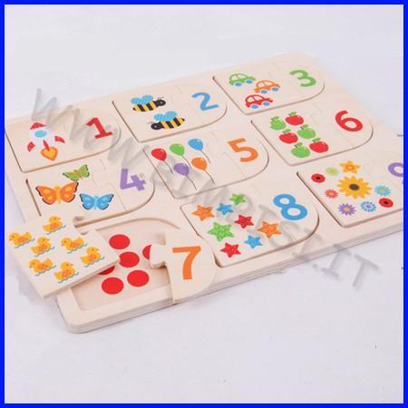 Domino solleva e guarda numeri e figure