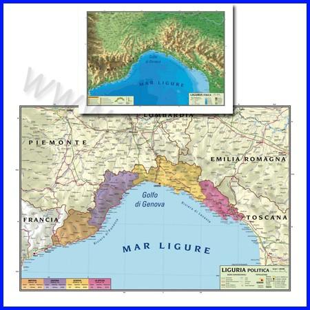 Carta geografica regionale liguria 100x140 bifacciale da parete