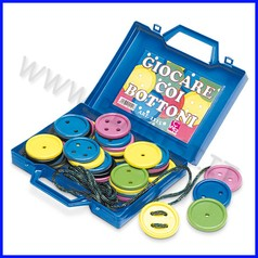 Bottoni manipolativi valigetta 48 pezzi colori assortiti + 6 mt.cordoncino