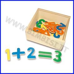 Numeri magnetici - scatola legno 35 pz. cm.15x14x6