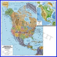 Carta geografica cm.100x140 - america settentrion. bifacciale da parete