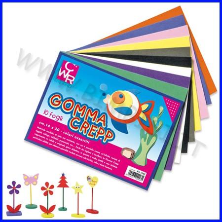 Gomma crepp 10 fogli cm14x20 colori ass.