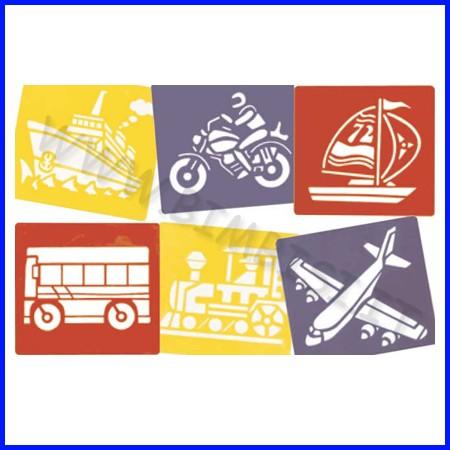"""Stencil """"mezzi di trasporto"""" 6 pz c/penn fino ad esaurimento"""
