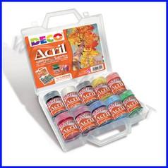 Colori acrilici deco acril 10 flaconi ml 35 colori assortiti in valigetta