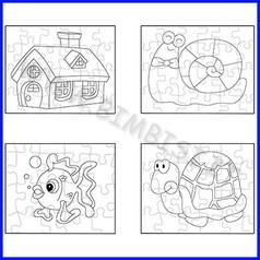 Set 4 puzzle cartone disegno io
