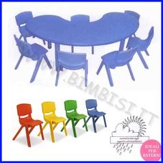 Tavolo semicircolare serie elite col.blu cm.165x90x48h
