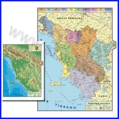 Carta geografica regionale toscana 100x140 bifacciale da parete