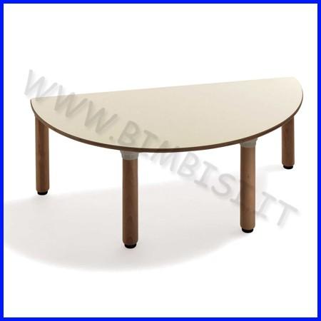 Tavolo semitondo materna gambe legno cm.130x65x53h linea milano