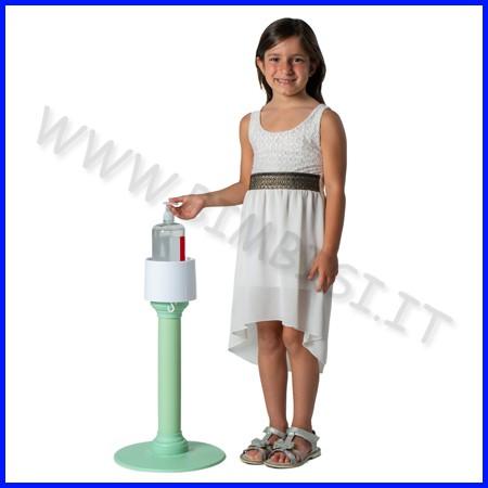 Colonnina porta gel sanificante h55 verde per bambini