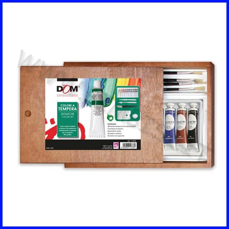 Cassetta legno cm.28x20 - 10 tubi ml.16 - tempera