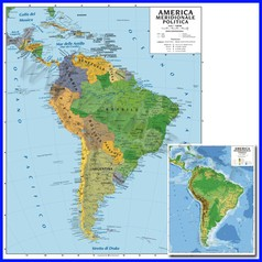 Carta geografica cm.100x140 - america meridionale bifacciale da parete