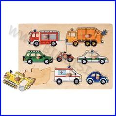 Puzzle legno c/pomelli - trasporti