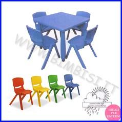 Tavolo quadrato serie elite colore blu cm.62x62x48h