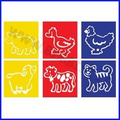 Stencil cm 14x15 6 pz animali fattoria