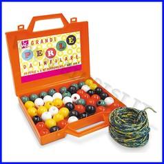 Perle giganti pz50 + 6 mt cordoncino in valigetta