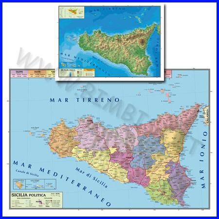 Carta geografica sicilia 100x140 bifacciale da parete