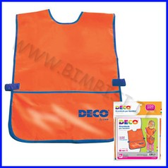 Grembiulino in plastica senza maniche con tasca arancio/rosso 32x50 cm