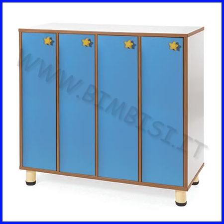 Mobile spogliatoio 4 ante azzurre + 4 posti cm.106x45x100h fino ad esaurimento