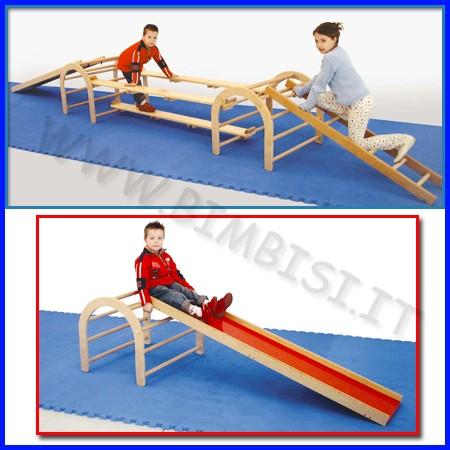 Attrezzi ginnici legno scivolo cm.33x180