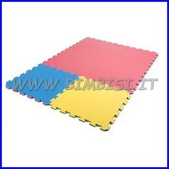 Tappeto incastro evafloor cm 100x100x1.5 rosso/blu ignifugo