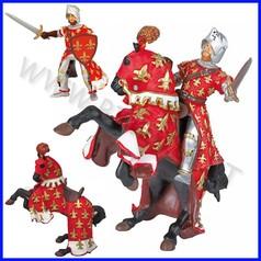 Personaggi cavaliere comandante rosso e cavallo