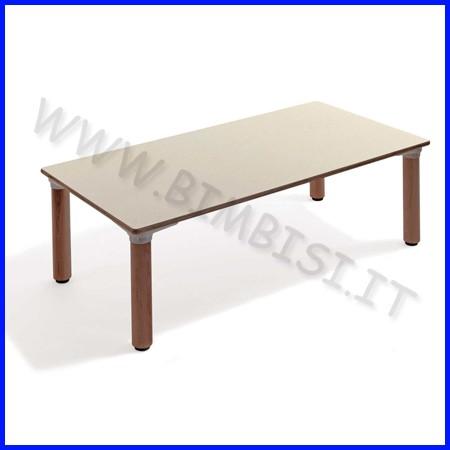 Tavolo rettangolare materna gambe legno cm.130x65x53h linea milano
