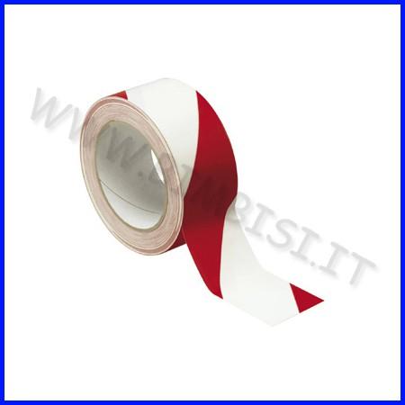 Nastro adesivo segnaletico bianco/rosso mm 50x33 mt
