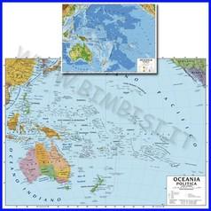 Carta geografica cm.100x140 - oceania bifacciale da parete