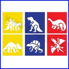 Stencil cm 14x15 6 pz dinosauri