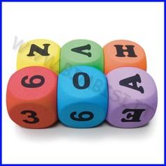 Dadi in eva alta densita cm 5x5x5 set 6 pz lettere e numeri in esaurimento