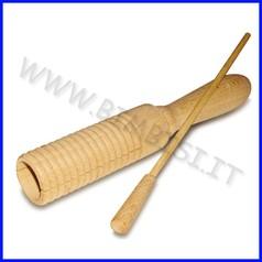 Strumenti musicali guiro in legno + battente diam. 4x19,5 cm