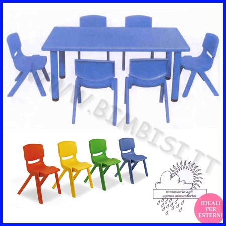 Tavolo rettangolare serie elite col.blu cm.125x65x48h