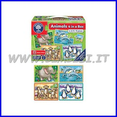 Puzzle Animali cm 21x15 - set 4 pz