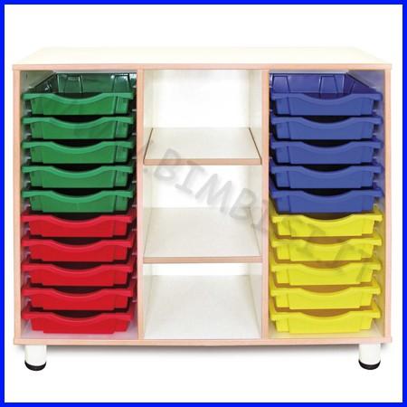 Cassettiera 20 cassetti 3 vani linea simply - h 100 cm