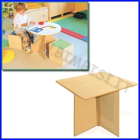 Tavolino in legno quadrato cm.50x50x43h