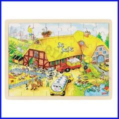 Puzzle legno/cartone cm.37x27 - fattoria (48 pz.)
