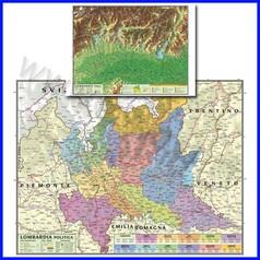 Carta geografica regionale lombardia 100x140 bifacciale da parete