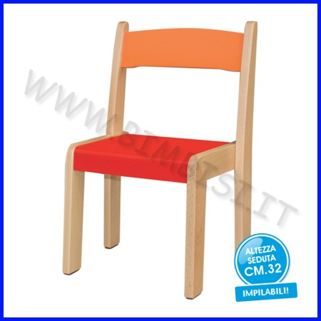 Sedia legno h 32 rosso fino ad esaurimento